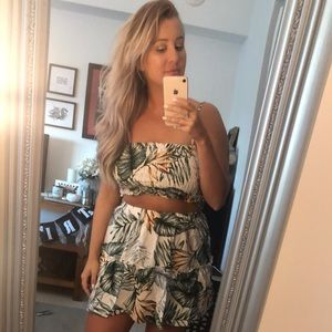 Shein Tropical Two Piece Skirt/Top Set
